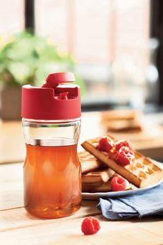 Don't let sticky syrup ruin your breakfast! Use our Condiserve Dispenser for a mess-free morning. #Tupperware