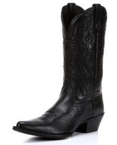 Ariat Women's Heritage Western J Toe Boot - Black Deertan
