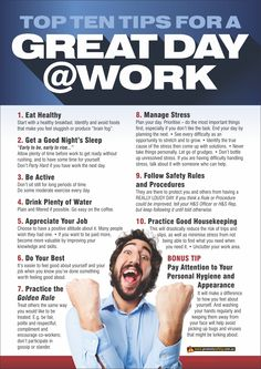 Workplace Health & Safety poster about wellness in the workplace. How to have a great day at work. Available as & in Australia and NZ (printed in Aus), and & in the USA and Canada (printed in US). Health And Safety Poster, Safety Posters, Safety Slogans, Industrial Safety, Work Project, Workplace Safety, High School Classes, A3 Size, Planning Your Day