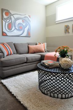 Judith Balis: cheap art, orange, shag rug, chaise lounge, Jonathan Louis, @worldmarket, #homegoodshappy @Jonathan Louis