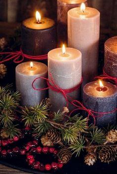 Big white Christmas candles