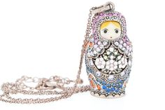 Mamushka Doll Necklace in Bronze and Purple