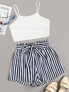 Shop Solid Cami Top With Striped Paper Bag Belted Shorts at ROMWE, discover more fashion styles online. Crop Top Outfits, Cute Casual Outfits, Cute Summer Outfits, Casual Shorts, Summer Shorts, Fashionable Outfits, Summer Fun, Stylish Outfits, Girls Fashion Clothes