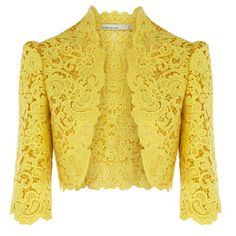 I really like jackets like this. They're fabulous for formal events where modesty is an extra must. This cheerful colour makes me smile, but it also wouldn't be amiss to see other really pretty ones in neutrals and other materials.