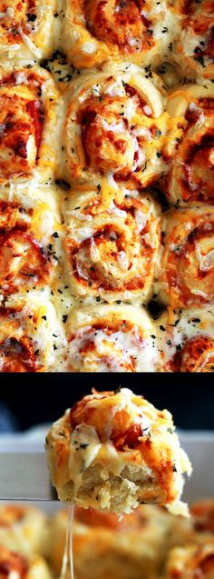 This Pepperoni Pizza Rolls from Melanie Makes are better than any frozen dinner or appetizer! Fluffy brioche bread is layered with pizza sauce, pepperoni, and mozzarella cheese then cut into rolls!