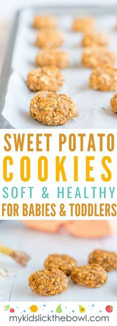 Recipes Breakfast Cookies Sweet Potato Cookies a baby led weaning recipe for soft healthy cookies with no added sugar perfect as a snack or breakfast idea Sweet Potato Cookies, Baby Cookies, Sweet Potato Recipes, Baby Food Recipes, Gourmet Recipes, Snack Recipes, Baby Sweet Potato Recipe, Cookies For Babies, Healthy Cookies For Kids