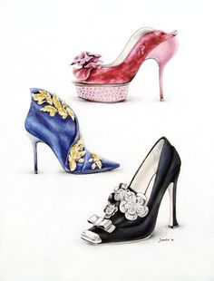 Shoes. Nina Ricci. Roger Vivier. Miu Miu. Ink. Colour pencils. Watercolor. Illustration by Viktoriia Janis. 2011