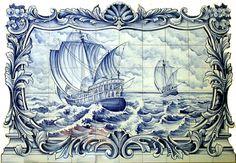 azulejos Tile Murals, Tile Art, Mosaic Tiles, Mosaics, Vintage Nautical, Nautical Theme, Mural Painting, Decorative Tile, Delft