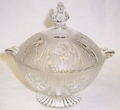 Jeannette Crystal Depression Glass IRIS and HERRINGBONE Candy Jar with Cover. $175.00, via Etsy.