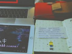 Funny text   #minions #moleskine #macbook #ipad #text #bag #pageone #magazine #time #night #vsco #cool