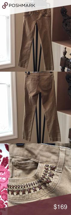 Gucci jeans with leather detail trim on packets Gucci jeans with leather detail trim on pocketed Gucci Jeans Straight Leg