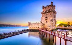 Download wallpapers Belem Tower, 4k, sunset, sea, Tower of Saint Vincent, Portuguese landmarks, Europe, Lisboa, Portugal