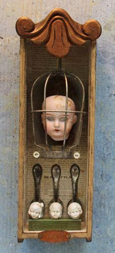 Assemblage Art Mixed Media Found Object Shrine Shadow Box