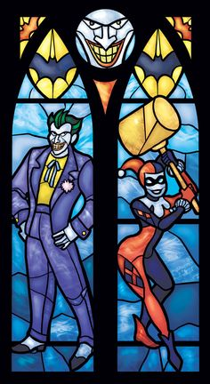 Stained Glass Joker and Harley Quinn Print - Twin Lancet Set