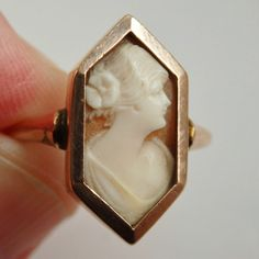 Stunning Antique Art Deco 9ct Rose Gold Cameo Ring c1929; UK Ring Size 'N 1/2'