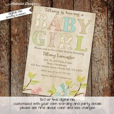 baby girl shower invitations with Shabby Chic flowers, digital, printable file (item 136) baby shower invite by katiedidesigns on Etsy