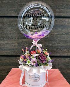 Balloon Arrangements, Balloon Centerpieces, Flower Arrangements, Flower Box Gift, Flower Boxes, Balloon Flowers, Balloon Bouquet, Transparent Balloons, Birthday Balloon Decorations