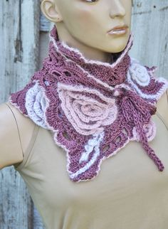 Crochet  Scarf  wedding Freeform  crochet method Roses Capelet  Neck Warmer Heather white pink Chunky Knit Freeform Crochet -  one of a kind