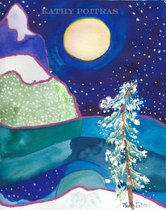 abstract naive folk art painting of snowy mountains and a snow laden tree. 8 x 10 inches by PiskyArt on Etsy
