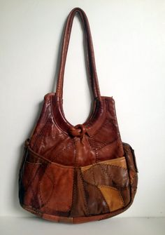 Vintage 1970 S Tan Brown Camel Patchwork Leather Hobo Style Handbag
