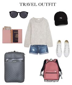 """""""Comfortable travel outfit"""" by eunij on Polyvore featuring AG Adriano Goldschmied, Chloé, Converse, Victoria's Secret, Yves Saint Laurent, New Black, Royce Leather, Louis Vuitton, outfit and travel"""
