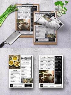 Classic Menu Single Page Template PSD - & US Letter - Highly Organized Layers (Labeled & grouped) - Easy to customize & change photo vi smart object - 300 DPI High Resolution Cafe Menu Design, Menu Card Design, Food Poster Design, Food Menu Design, Stationery Design, Menu Restaurant, Tapas Menu, Restaurant Identity, Food Menu Template