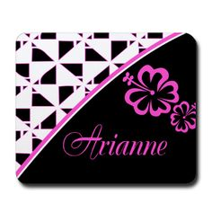 Stylish Hibiscus Pink N Black - Custom Mousepad