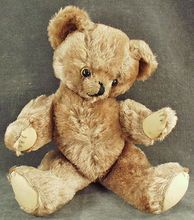 Vintage Jointed Honey Mohair Bear with Shoe Button Eyes
