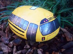 Yellow School Bus Painted River Rock