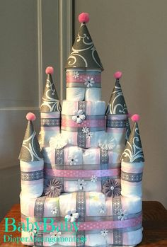 Pink and Gray Princess Castle Diaper Cake Girl Baby Shower
