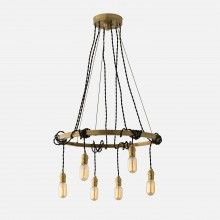 Elegant hanging brass chandelier with tangled cords for a mid century modern look and feel