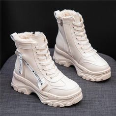 There is always many products on sae upto - RASMEUP Leather Women's Chunky Boots Winter Thick Fur Warm Women Platform Sneakers 2018 Fashion Combat Boots Woman Martin Shoes - Pro Buyerz Style Converse, Converse Outfits, Converse Heels, Louis Vuitton Shoes Sneakers, Louis Vuitton Boots, Combat Boots Style, Aesthetic Shoes, Fresh Shoes, Chunky Boots
