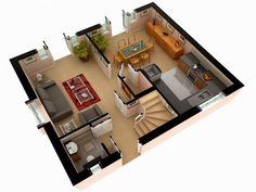 Three bedroom house design pictures 3 plan of simple one bed room 2 for rent san Roof Design, Plan Design, Layout Design, 3d Design, Architecture Magazines, Architecture Plan, Amazing Architecture, Plan Duplex, Home Design Software Free