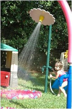 cute outdoor water park stuff for my grandkids, would love to fix a spot for them like this!  Maybe one day!