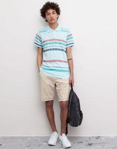 Pull&Bear - homme - t-shirts - polo print manches courtes - bleu pastel - 09201512-V2015