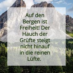 Auf den Bergen ist Freiheit! Der Hauch der Grüfte steigt nicht hinauf in die reinen Lüfte. #natur #nature #nurnatur #nurnaturblog #seele #landschaft #berg #wandern #wanderlust #hikingadventures #naturlover #freizeit #enjoylife #mesch #österreich #oberösterreich #quote #spruch #inspiration #free #adventure #life Bergen, Wanderlust, Inspiration, Personalized Items, Cover, Books, Free, Freedom, Hiking