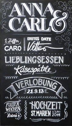 Hochzeitsdeko - Lovestory - KreideTafel Hochzeitsdeko Schild - ein Designerstück von hellopetie bei DaWanda