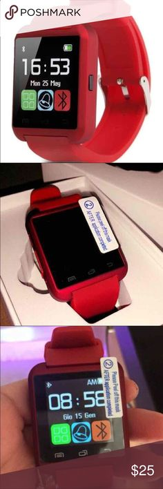 New Red Smart Watch 100% Brand new and in the box Smart Watch. Never been used. Works perfect. Connects to any phone through Bluetooth, plays music, answers calls/texts from the watch,  takes photos/videos. It also has many other functions such as Wifi, Internet Browser, Calendar, Alarm, Calculator, Sleep Monitor, Pedometer,  Timer. Works with all devices including Apple and Android devices. Accessories Watches