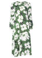 Womens Green Floral Print Midi Dress- Green