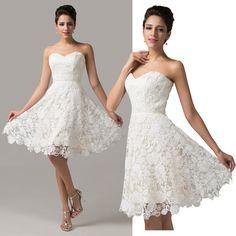 Spitze kurz Ballkleider Partei Brautkleid Abendkleid Hochzeit Brautjungfernkleid