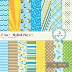 Free Scrapbook Paper Downloads   ... , summer digital scrapbooking paper, royalty free- Instant Download