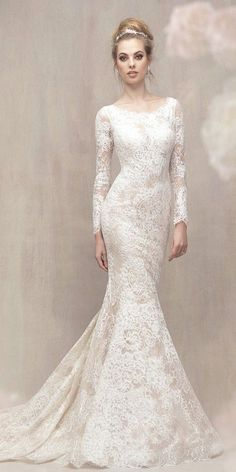 18 Modest Wedding Dresses With Sleeves ❤️ modest wedding dresses with sleeves mermaid full lace embellishment allure bridals ❤️ Full gallery: https://weddingdressesguide.com/modest-wedding-dresses-with-sleeves/