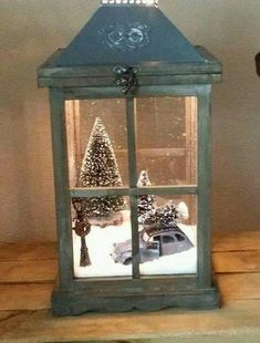 Neato idea for lantern & been wanting to do this with a little car & tree but its not easy finding vintage mini cars.. so far I have only come across race cars... here's hoping tho & super adorbs decor!