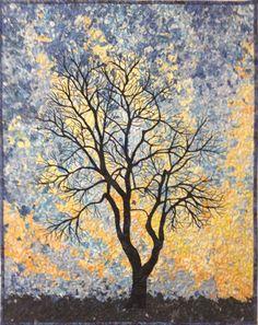 Lenore's Art World: Winter Sky Shredded Art Quilt Finished