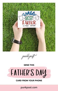 Punkpost makes it easy to send dad a handwritten Father's Day card. Just pick a card (like this one), type your message and tell us where to send it. We'll take card of the rest! We handwrite your message, address the envelope, add a stamp and drop it in the mail. Order right now from your phone or computer.    #fathersday #dad #happyfathersday #fathersdaygift #giftfordad #firstfathersday #fathersrdaycard #fathersdayidea #handwrittencard #snailmail #iosapp First Fathers Day, Fathers Day Cards, Your Message, Handwriting, Gifts For Dad, Envelope, Dads, Rest, Stamp