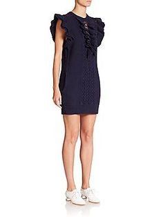 Stella McCartney Broderie Anglaise Ruffled Sweater Dress - Navy - Size
