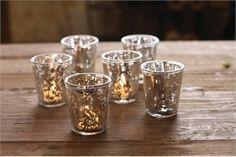 Mercury Glass Candle Holders Mercury Glass Candle Holders, Gold Candle Holders, Gold Candles, Candle Set, Votive Candles, Glass Votive, Candleholders, Mercury Glass Wedding, Vintage Centerpieces