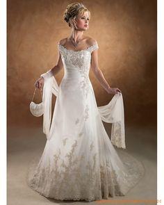 2013 neue Brautkleider aus Satin mit Stickerei und Schleppe Schleier