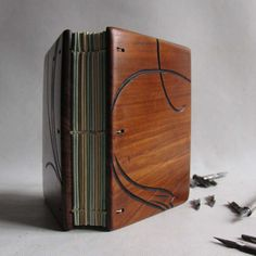 Wood book journal made from reclaimed furniture