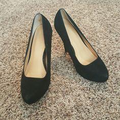 Black suede heels Super cute black suede 4.5 inch heels! Shoes Heels